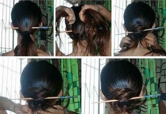 1、扎个低马尾(高的也好看,会活泼些)将簪子横插在橡皮筋下; 2、分开两股头发,向上围着簪子交错环绕, 3、把头发绕完(注意要绕得形状好看饱满),用黑发卡固定就OK啦~ 四、单根簪子盘发2:(还是一根簪子的方法)