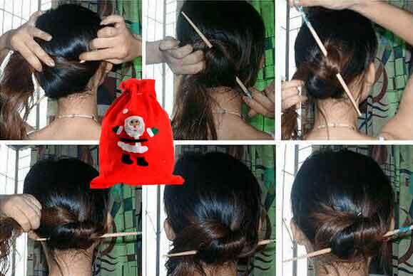 四,单根簪子盘发2:(还是一根簪子的方法)